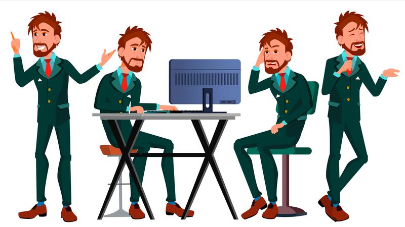 European Worker Working On Desk In Office Illustration