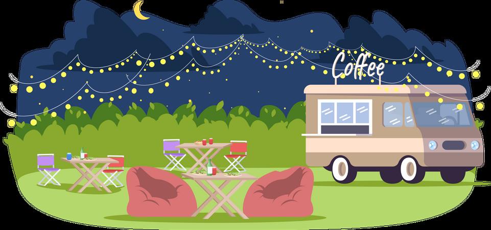 Evening food event Illustration