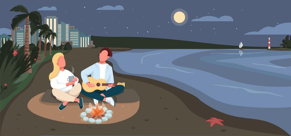Evening picnic at sandy beach Illustration