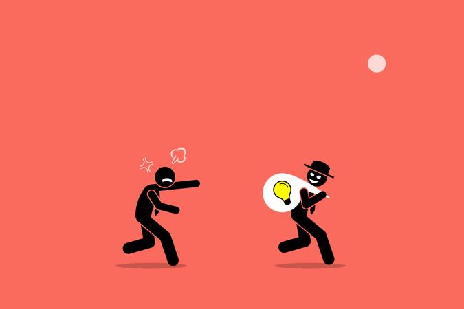 Evil businessman stealing business idea Illustration