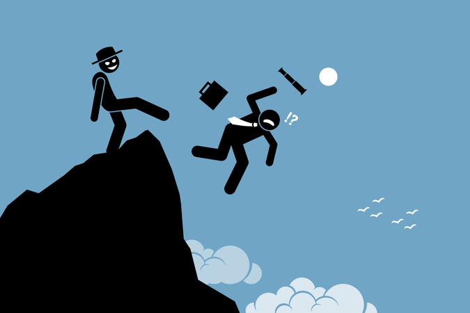 Evil man kicking down his business partner from the top of the hill Illustration