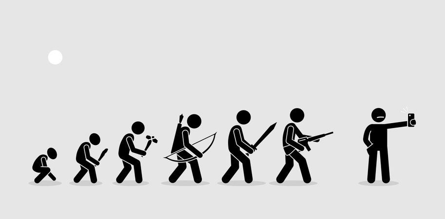 Evolution of human weapons on a history timeline Illustration