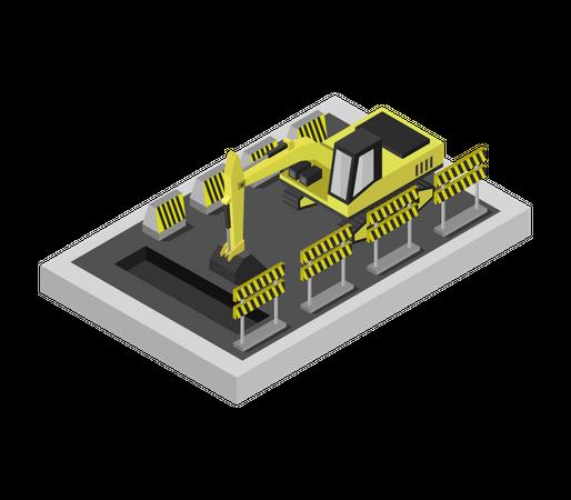 Excavator machine Illustration