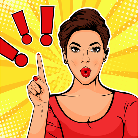 Exclamation point and surprised woman. Colorful vector illustration in pop art retro comic style Illustration