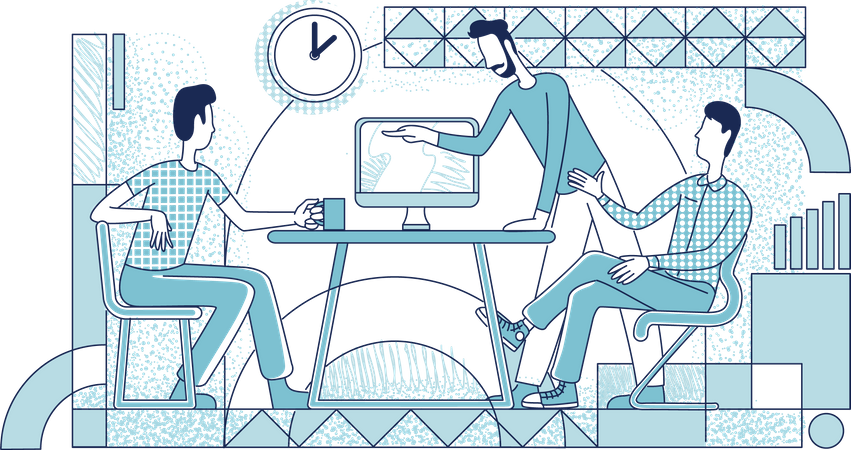 Executive managers working process Illustration