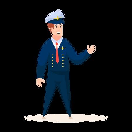 Expert airplane pilot in uniform Illustration