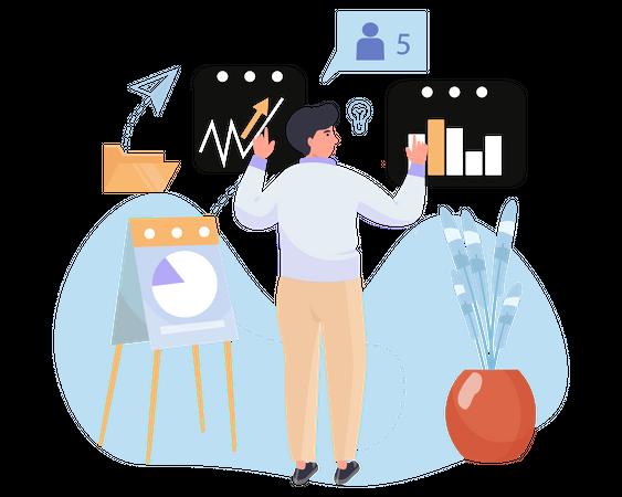 Expert market analyzer Illustration