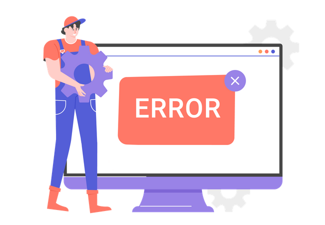 Expert mechanic near the monitor screen with an error message Illustration