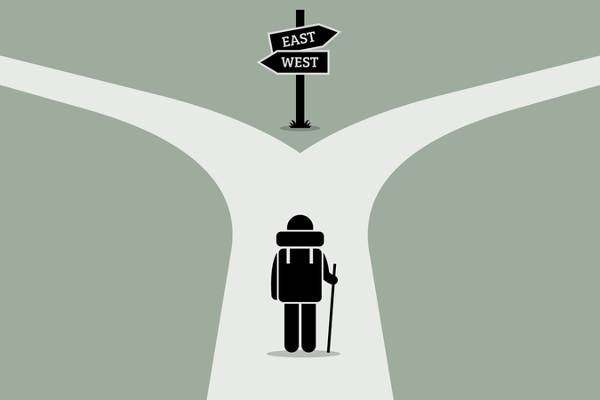 Explorer reaching a split road trying to make decision on where to go next Illustration