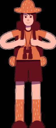 Explorer with backpack Illustration