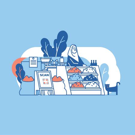 Exploring market Illustration