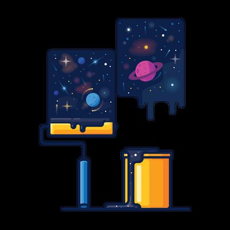 Exploring space Illustration