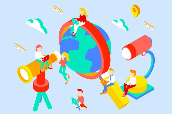 Exploring the world Illustration