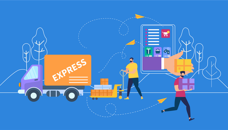 Express Delivery process Illustration