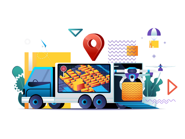 Express delivery service, fast global and local shipping Illustration