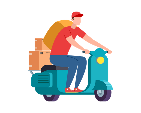 Express delivery service on scooter and bike Illustration