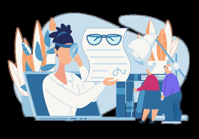 Eye and eyeglass Report Illustration