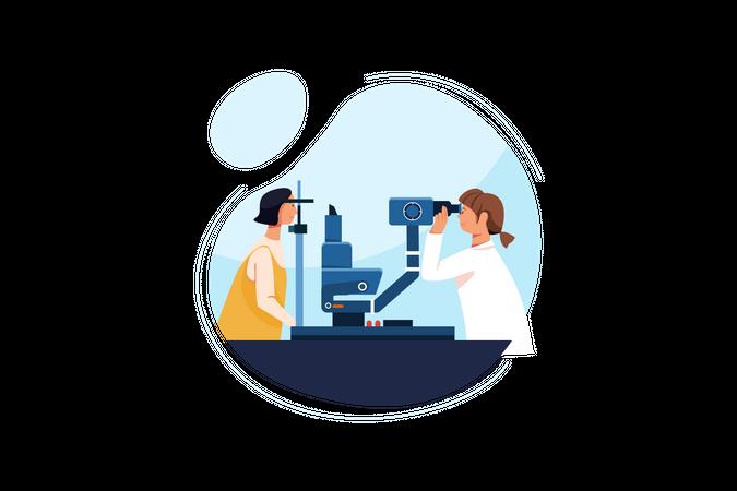Eye optical checking machine Illustration