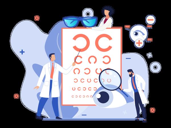 Eye vision testing chart Illustration