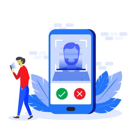 Face recognition technology concept Illustration