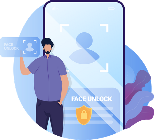 Face Unlock Access Permission Illustration
