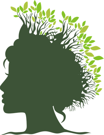 Face with tree leaves Illustration