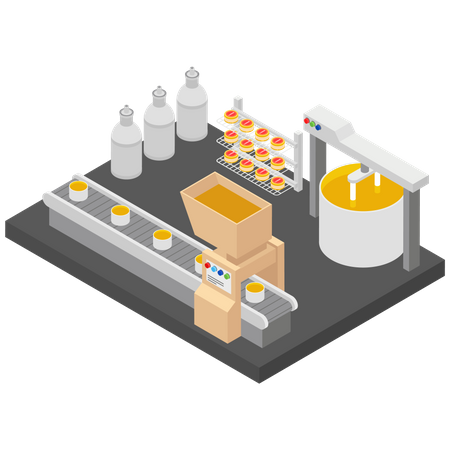 Factory Manufacturing  Unit Illustration