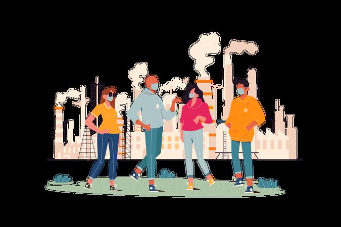 Factory Pollution Illustration
