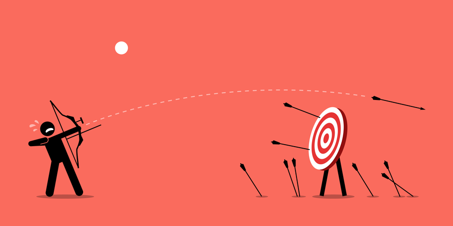 Failing to hit the target Illustration
