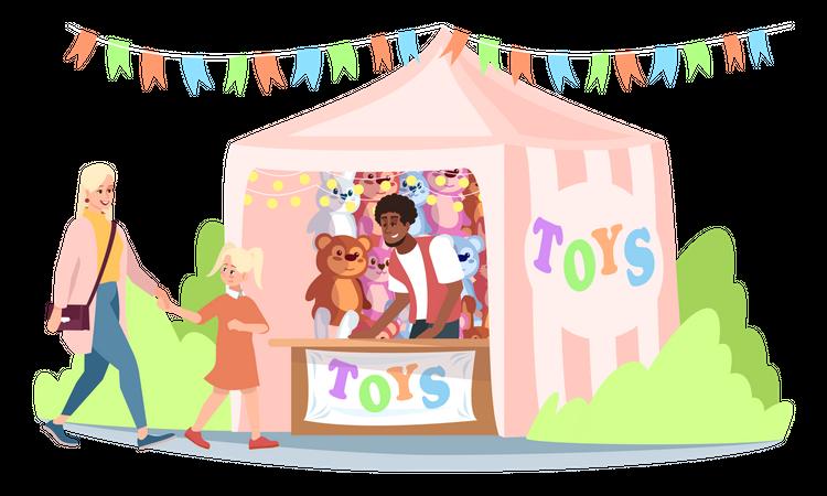 Fair market stall with toys Illustration