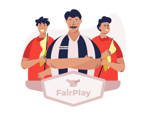 Fair play campaign with sports referee character Illustration