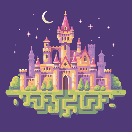Fairy tale castle night scene Illustration