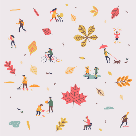 Fall or autumn season with falling leaves and people enjoy their time outdoors Illustration