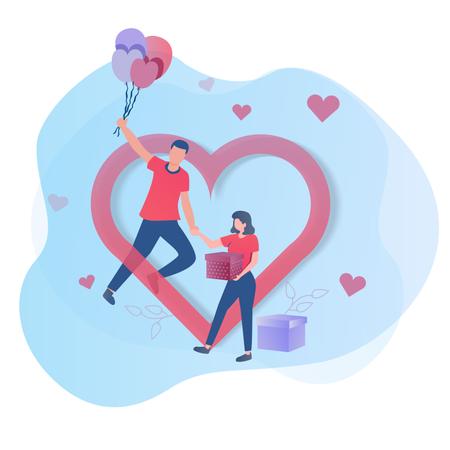 Falling in love makes feel flying Illustration