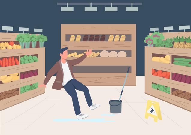 Falling shop customer Illustration