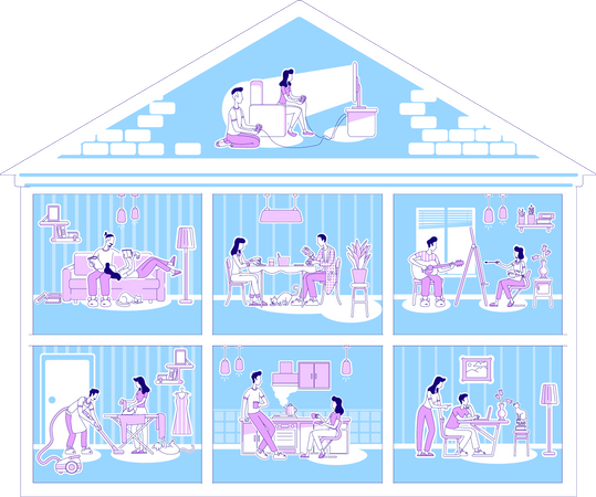 Family activities in apartments Illustration