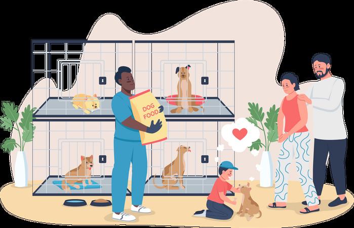 Family adopt puppy Illustration