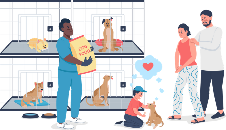 Family adopting dog from rescue shelter Illustration