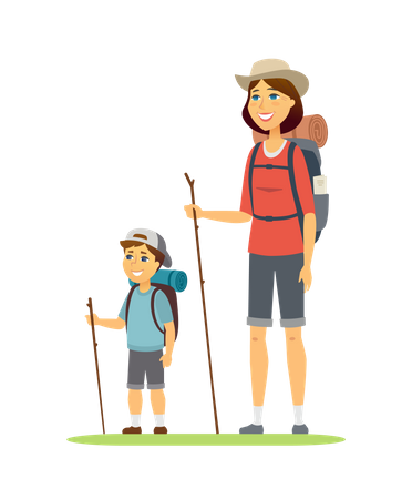 Family adventurous trip Illustration