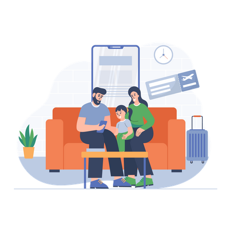 Family booking trip Illustration