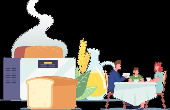 Family Breakfast at Table Dining Illustration
