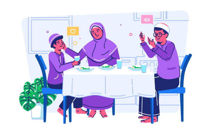 Family breaking the fast together Illustration