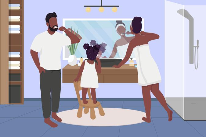 Family brushing teeth Illustration