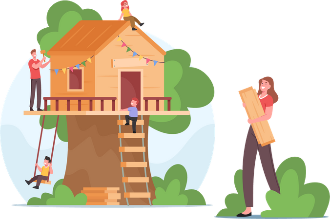 Family Building Treehouse all Together Illustration