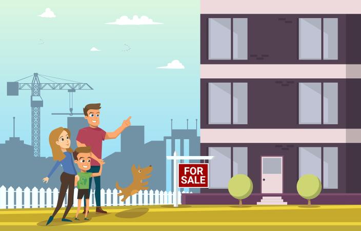 Family Buy Real Estate House Illustration