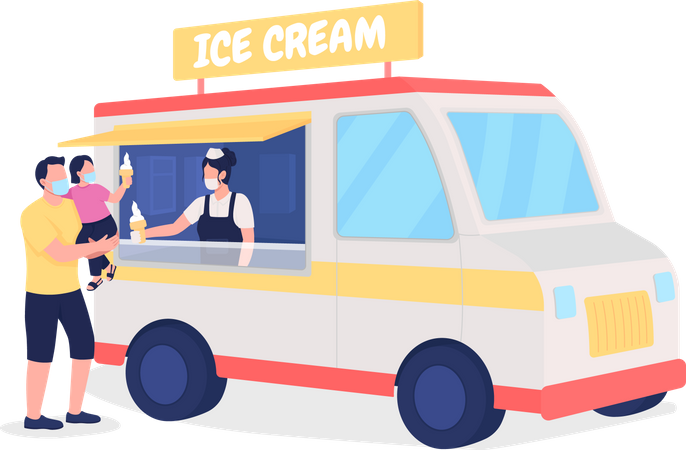 Family buying ice cream from truck Illustration