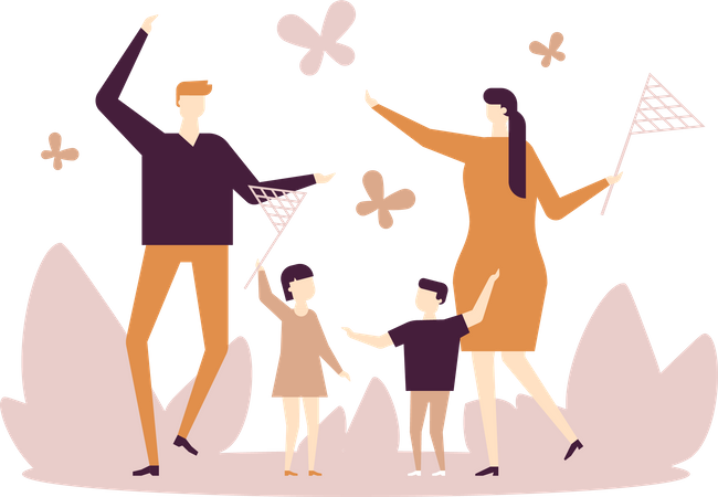 Family catching butterflies Illustration