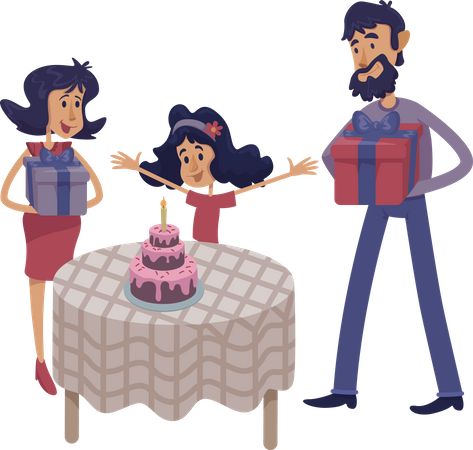 Family celebrate child birthday Illustration