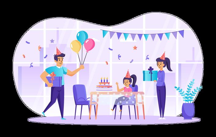 Family celebrating birthday Illustration
