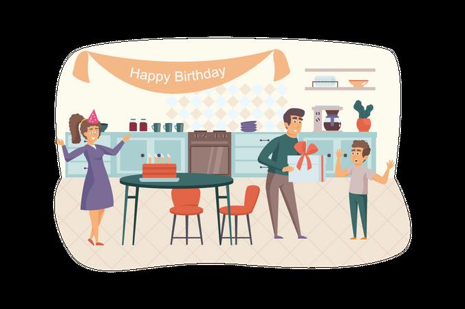 Family celebrating kid birthday Illustration